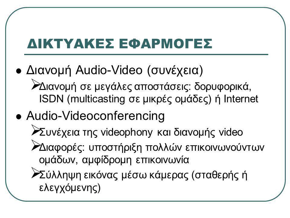 ΔΙΚΤΥΑΚΕΣ ΕΦΑΡΜΟΓΕΣ  Διανομή Audio-Video (συνέχεια)  Διανομή σε μεγάλες αποστάσεις: δορυφορικά, ISDN (multicasting σε μικρές ομάδες) ή Internet  Audio-Videoconferencing  Συνέχεια της videophony και διανομής video  Διαφορές: υποστήριξη πολλών επικοινωνούντων ομάδων, αμφίδρομη επικοινωνία  Σύλληψη εικόνας μέσω κάμερας (σταθερής ή ελεγχόμενης)