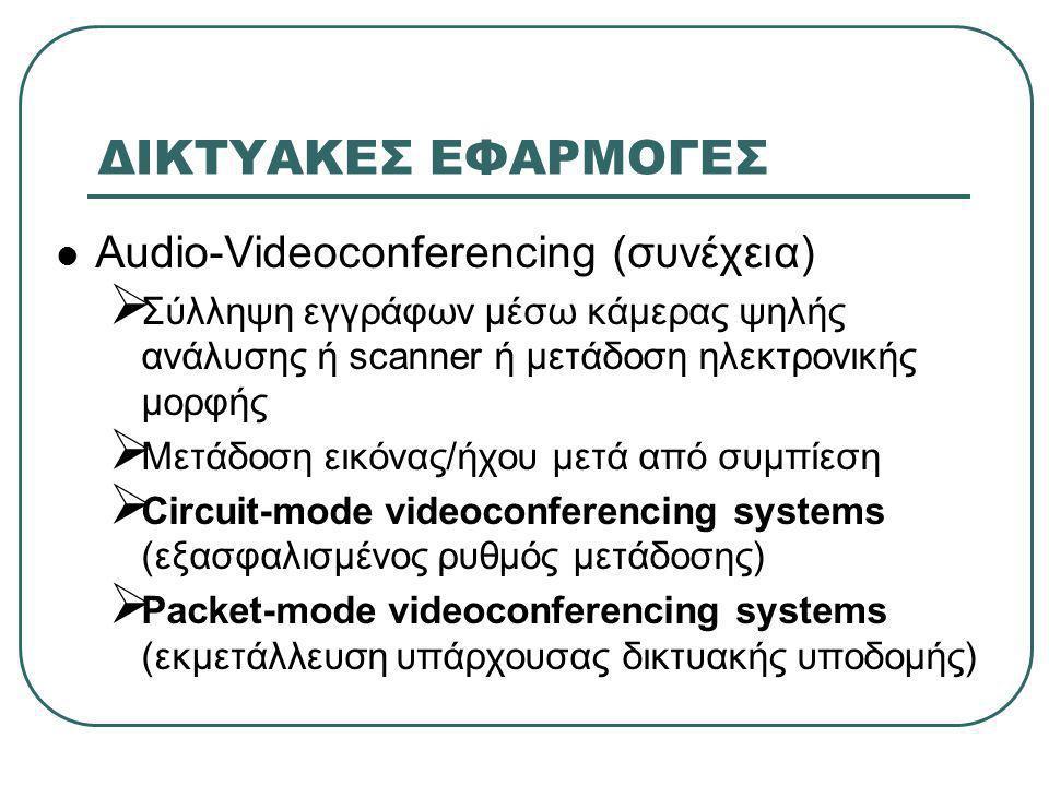 ΔΙΚΤΥΑΚΕΣ ΕΦΑΡΜΟΓΕΣ  Audio-Videoconferencing (συνέχεια)  Σύλληψη εγγράφων μέσω κάμερας ψηλής ανάλυσης ή scanner ή μετάδοση ηλεκτρονικής μορφής  Μετ