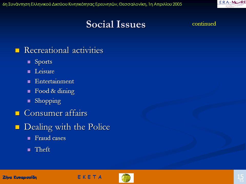 Ζήνα Κυπαρισσίδη Ζήνα Κυπαρισσίδη Ε Κ Ε Τ Α 15 6η Συνάντηση Ελληνικού Δικτύου Κινητικότητας Ερευνητών, Θεσσαλονίκη, 1η Απριλίου 2005 15 Social Issues