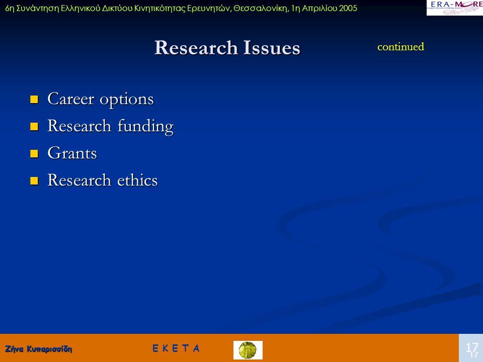 Ζήνα Κυπαρισσίδη Ζήνα Κυπαρισσίδη Ε Κ Ε Τ Α 17 6η Συνάντηση Ελληνικού Δικτύου Κινητικότητας Ερευνητών, Θεσσαλονίκη, 1η Απριλίου 2005 17 Research Issue