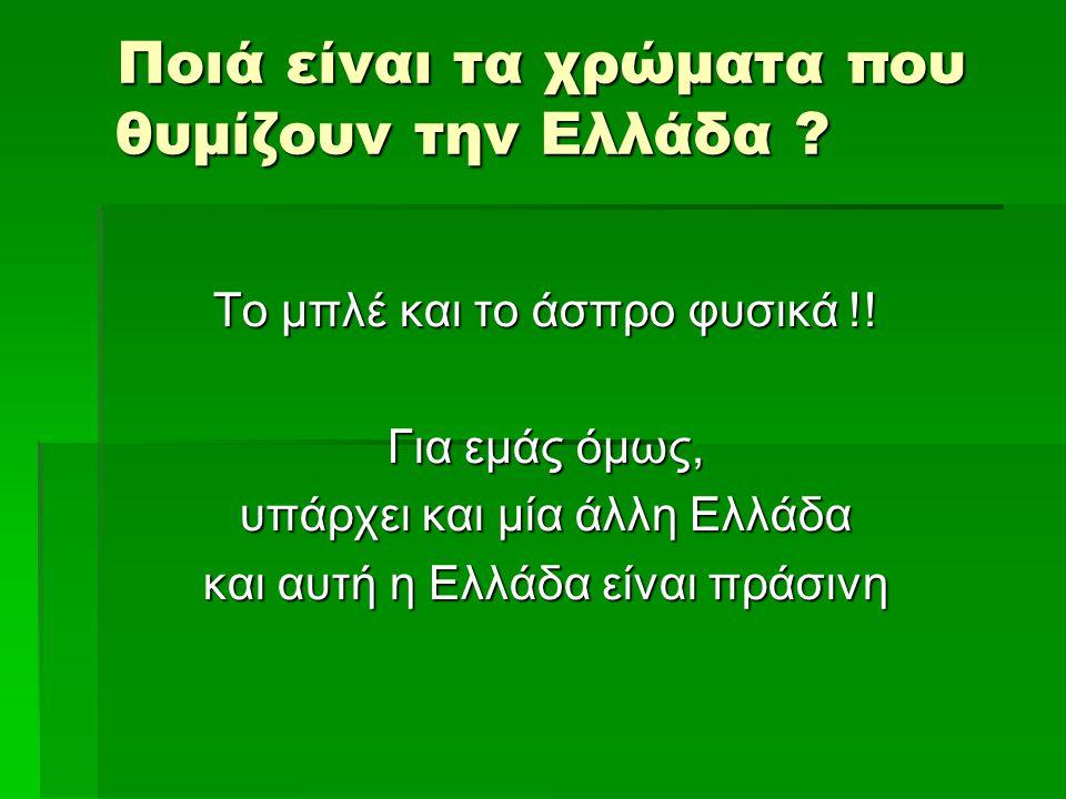 Ποιά είναι τα χρώματα που θυμίζουν την Ελλάδα ? Το μπλέ και το άσπρο φυσικά !! Για εμάς όμως, υπάρχει και μία άλλη Ελλάδα και αυτή η Ελλάδα είναι πράσ