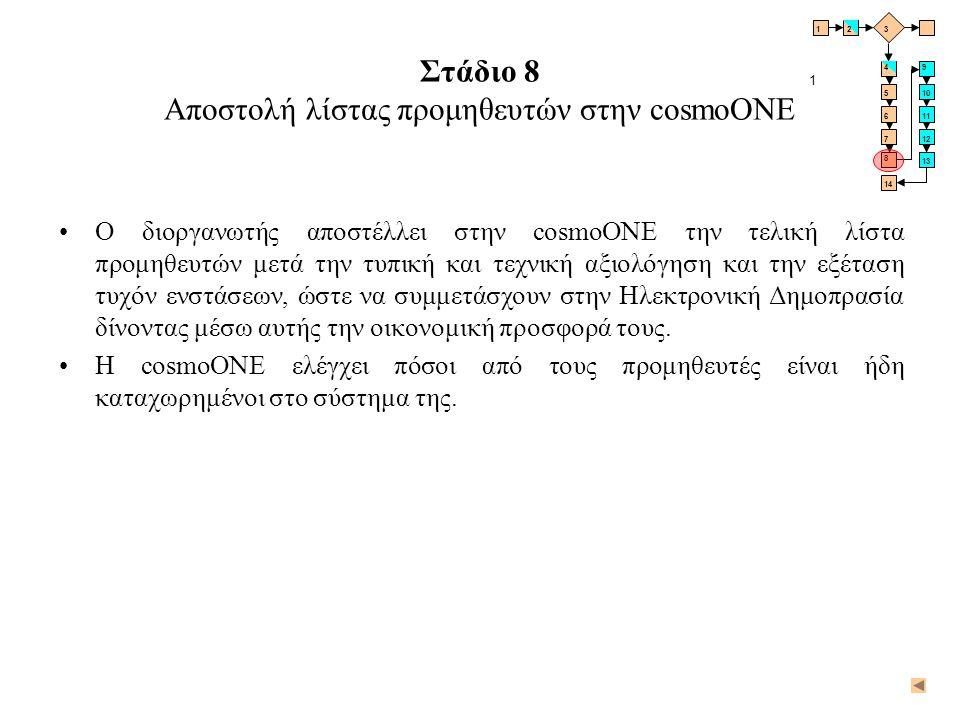 Στάδιο 8 Αποστολή λίστας προμηθευτών στην cosmoONE •Ο διοργανωτής αποστέλλει στην cosmoONE την τελική λίστα προμηθευτών μετά την τυπική και τεχνική αξ