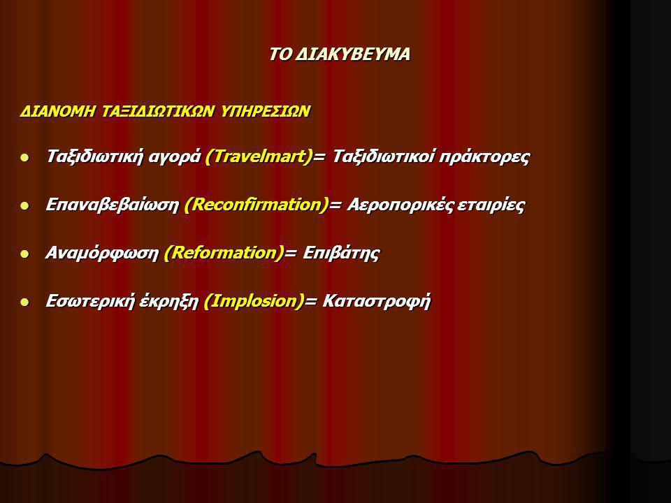 ΤΟ ΔΙΑΚΥΒΕΥΜΑ ΔΙΑΝΟΜΗ ΤΑΞΙΔΙΩΤΙΚΩΝ ΥΠΗΡΕΣΙΩΝ  Ταξιδιωτική αγορά (Travelmart)= Ταξιδιωτικοί πράκτορες  Επαναβεβαίωση (Reconfirmation)= Αεροπορικές εταιρίες  Αναμόρφωση (Reformation)= Επιβάτης  Εσωτερική έκρηξη (Implosion)= Καταστροφή