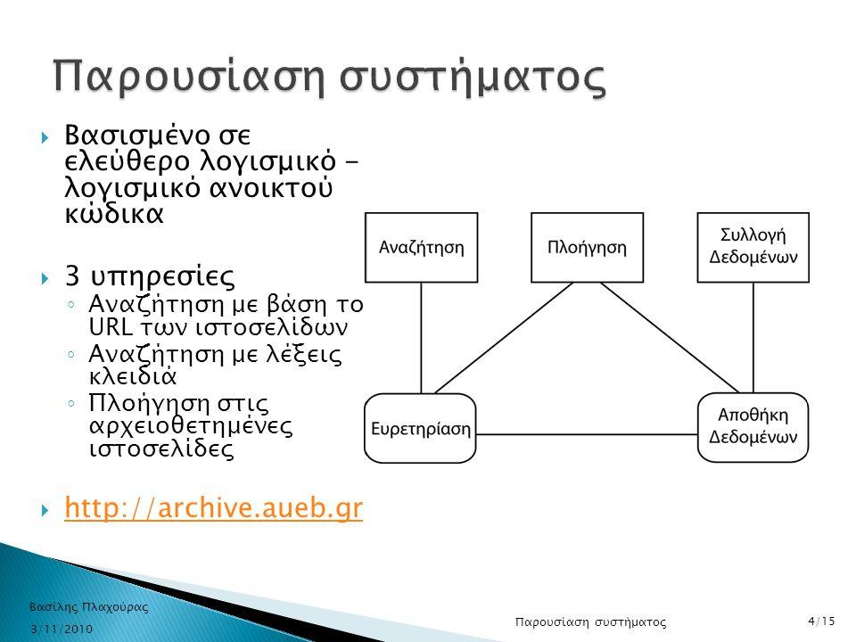  Βασισμένο σε ελεύθερο λογισμικό - λογισμικό ανοικτού κώδικα  3 υπηρεσίες ◦ Αναζήτηση με βάση το URL των ιστοσελίδων ◦ Αναζήτηση με λέξεις κλειδιά ◦