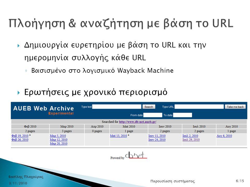  Δημιουργία ευρετηρίου με βάση το URL και την ημερομηνία συλλογής κάθε URL ◦ Βασισμένο στο λογισμικό Wayback Machine  Ερωτήσεις με χρονικό περιορισμ