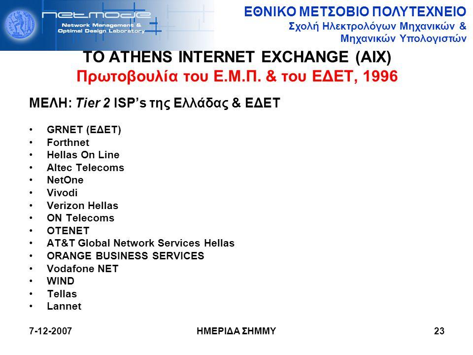 ΕΘΝΙΚΟ ΜΕΤΣΟΒΙΟ ΠΟΛΥΤΕΧΝΕΙΟ Σχολή Ηλεκτρολόγων Μηχανικών & Μηχανικών Υπολογιστών 7-12-2007 ΗΜΕΡΙΔΑ ΣΗΜΜΥ23 ΤΟ ATHENS INTERNET EXCHANGE (AIX) Πρωτοβουλ