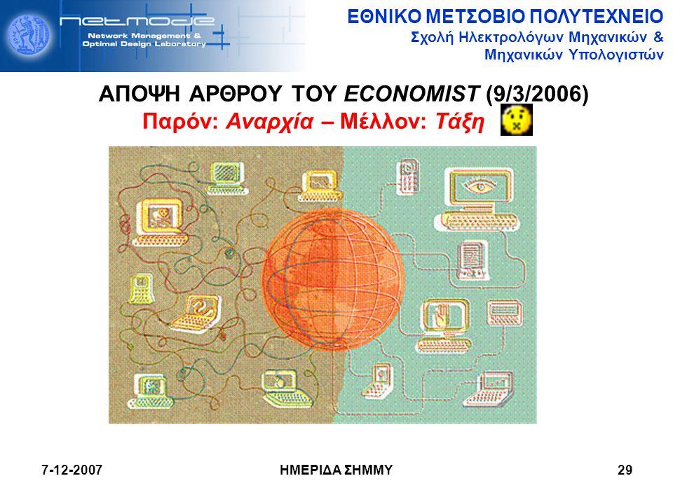 ΕΘΝΙΚΟ ΜΕΤΣΟΒΙΟ ΠΟΛΥΤΕΧΝΕΙΟ Σχολή Ηλεκτρολόγων Μηχανικών & Μηχανικών Υπολογιστών 7-12-2007 ΗΜΕΡΙΔΑ ΣΗΜΜΥ29 ΑΠΟΨΗ ΑΡΘΡΟΥ ΤΟΥ ECONOMIST (9/3/2006) Παρόν