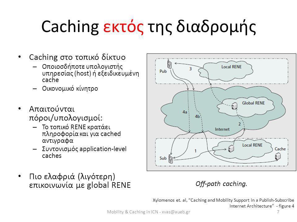 Caching εκτός της διαδρομής • Caching στο τοπικό δίκτυο – Οποιοσδήποτε υπολογιστής υπηρεσίας (host) ή εξειδικευμένη cache – Οικονομικό κίνητρο • Απαιτούνται πόροι/υπολογισμοί: – Το τοπικό RENE κρατάει πληροφορία και για cached αντιγραφα – Συντονισμός application-level caches • Πιο ελαφριά (λιγότερη) επικοινωνία με global RENE Off-path caching.