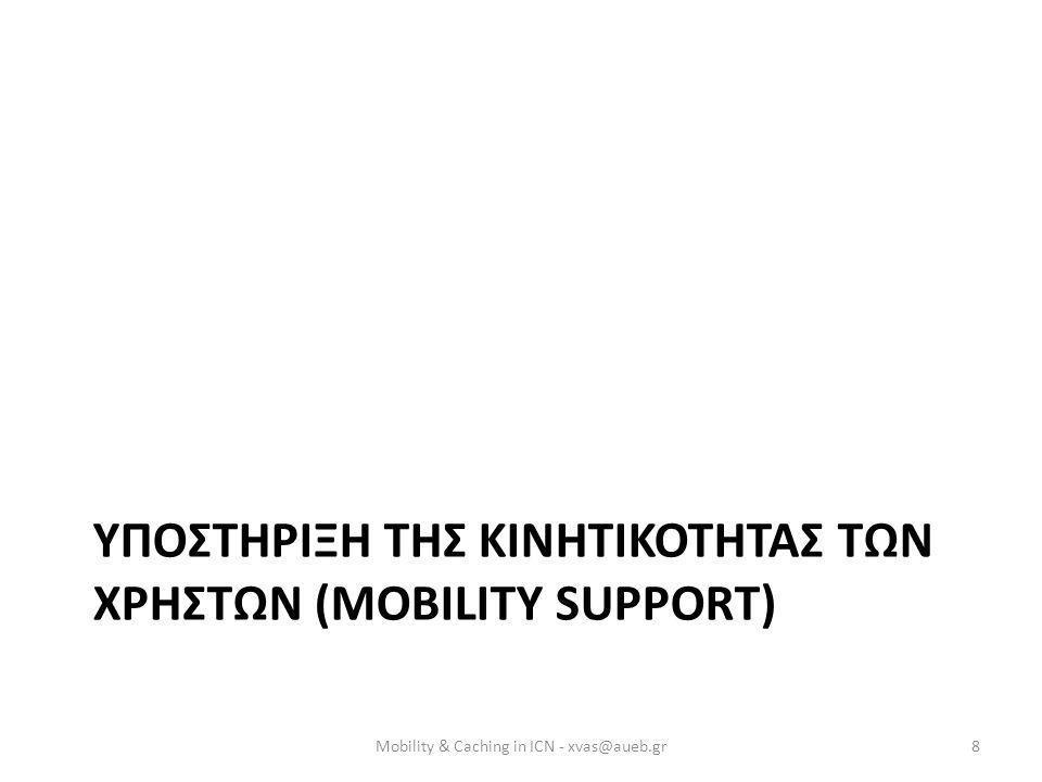 ΥΠΟΣΤΗΡΙΞΗ ΤΗΣ ΚΙΝΗΤΙΚΟΤΗΤΑΣ ΤΩΝ ΧΡΗΣΤΩΝ (MOBILITY SUPPORT) Mobility & Caching in ICN - xvas@aueb.gr8