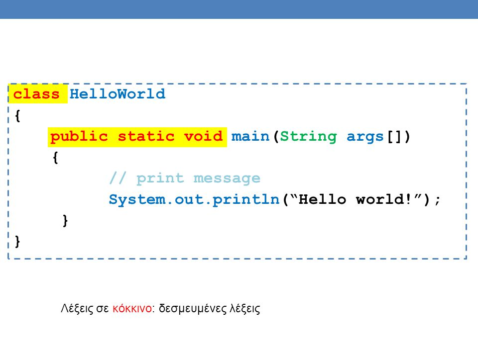 "class HelloWorld { public static void main(String args[]) { // print message System.out.println(""Hello world!""); } Λέξεις σε κόκκινο: δεσμευμένες λέξε"