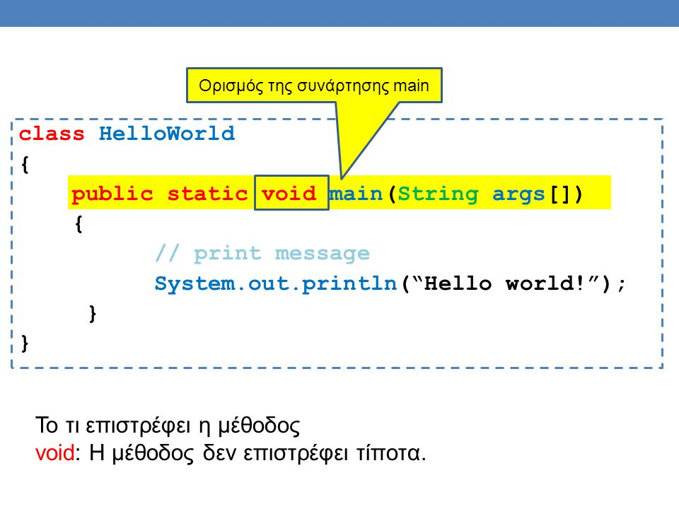 "class HelloWorld { public static void main(String args[]) { // print message System.out.println(""Hello world!""); } Ορισμός της συνάρτησης main Το τι ε"