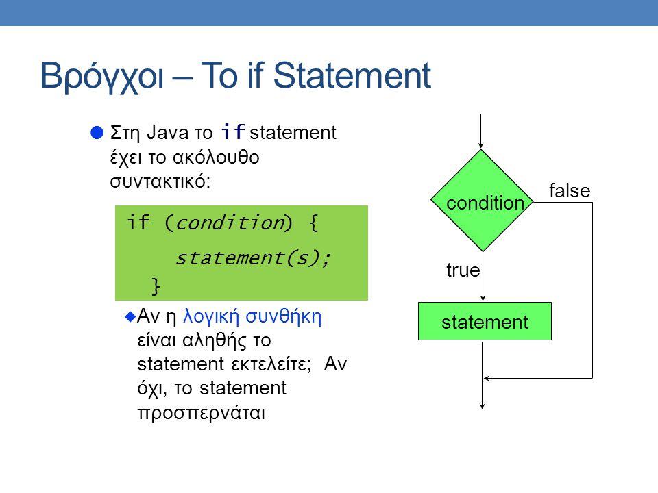  Στη Java το if statement έχει το ακόλουθο συντακτικό: if (condition) { statement(s); }  Αν η λογική συνθήκη είναι αληθής το statement εκτελείτε; Αν