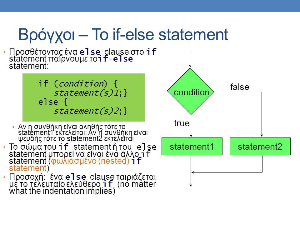 Βρόγχοι – Το if-else statement • Προσθέτοντας ένα else clause στο if statement παίρνουμε το if-else statement: if (condition) { statement(s)1;} else {