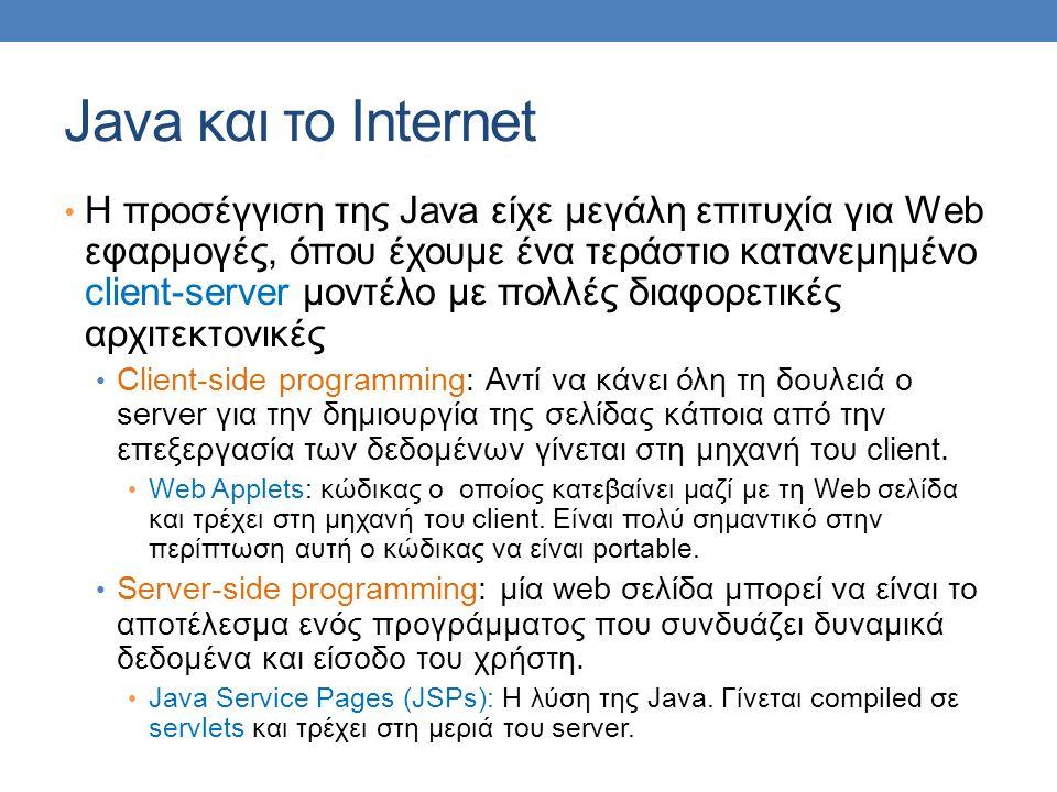Java και το Internet • H προσέγγιση της Java είχε μεγάλη επιτυχία για Web εφαρμογές, όπου έχουμε ένα τεράστιο κατανεμημένο client-server μοντέλο με πο
