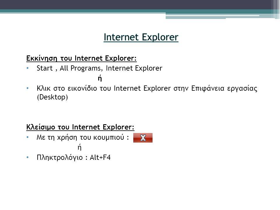 Εκκίνηση του Internet Explorer: • Start, All Programs, Internet Explorer ή • Κλικ στο εικονίδιο του Internet Explorer στην Επιφάνεια εργασίας (Desktop) Κλείσιμο του Internet Explorer: • Με τη χρήση του κουμπιού : ή • Πληκτρολόγιο : Alt+F4