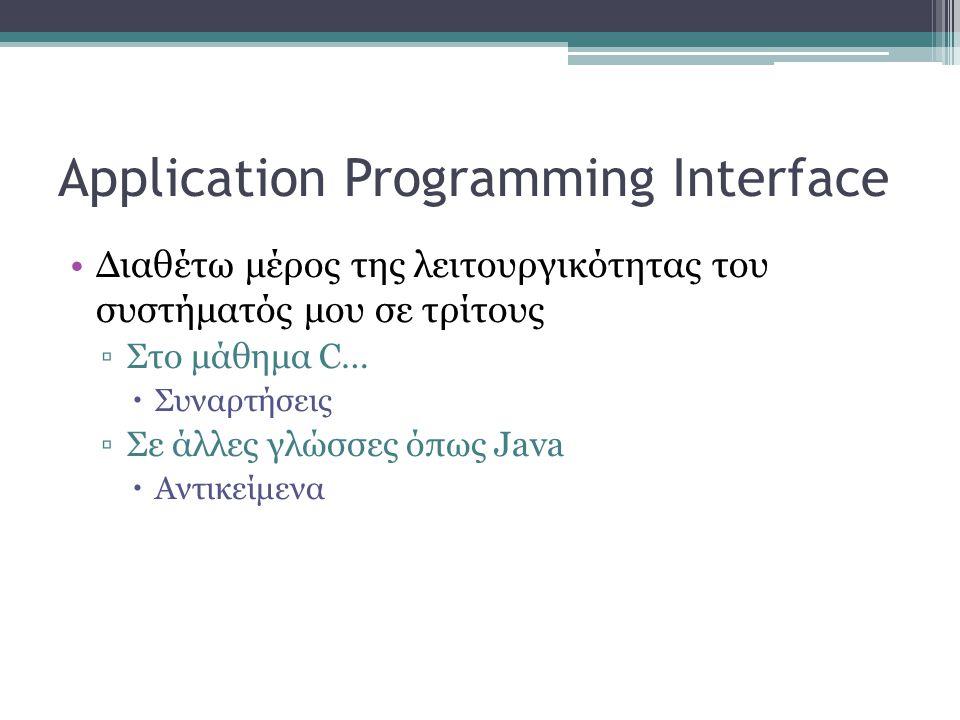 Application Programming Interface •Διαθέτω μέρος της λειτουργικότητας του συστήματός μου σε τρίτους ▫Στο μάθημα C…  Συναρτήσεις ▫Σε άλλες γλώσσες όπως Java  Αντικείμενα