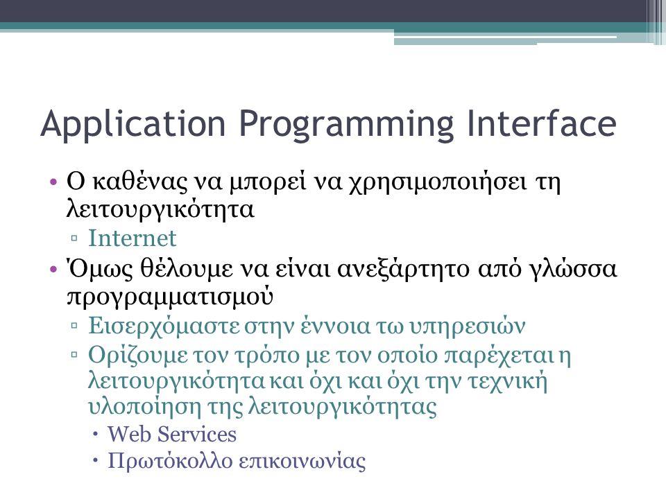 Application Programming Interface •Ο καθένας να μπορεί να χρησιμοποιήσει τη λειτουργικότητα ▫Internet •Όμως θέλουμε να είναι ανεξάρτητο από γλώσσα προγραμματισμού ▫Εισερχόμαστε στην έννοια τω υπηρεσιών ▫Ορίζουμε τον τρόπο με τον οποίο παρέχεται η λειτουργικότητα και όχι και όχι την τεχνική υλοποίηση της λειτουργικότητας  Web Services  Πρωτόκολλο επικοινωνίας
