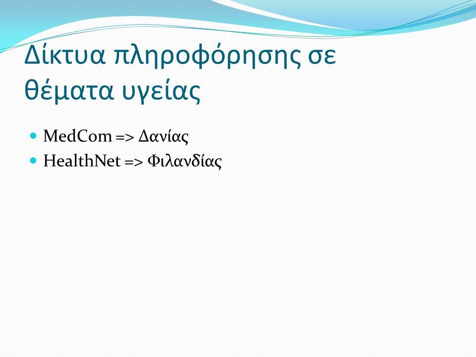 Δίκτυα πληροφόρησης σε θέματα υγείας  MedCom => Δανίας  HealthNet => Φιλανδίας
