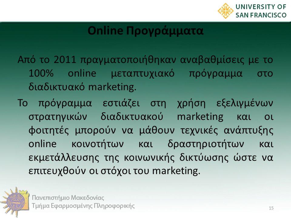 Online Προγράμματα Από το 2011 πραγματοποιήθηκαν αναβαθμίσεις με το 100% online μεταπτυχιακό πρόγραμμα στο διαδικτυακό marketing. Το πρόγραμμα εστιάζε
