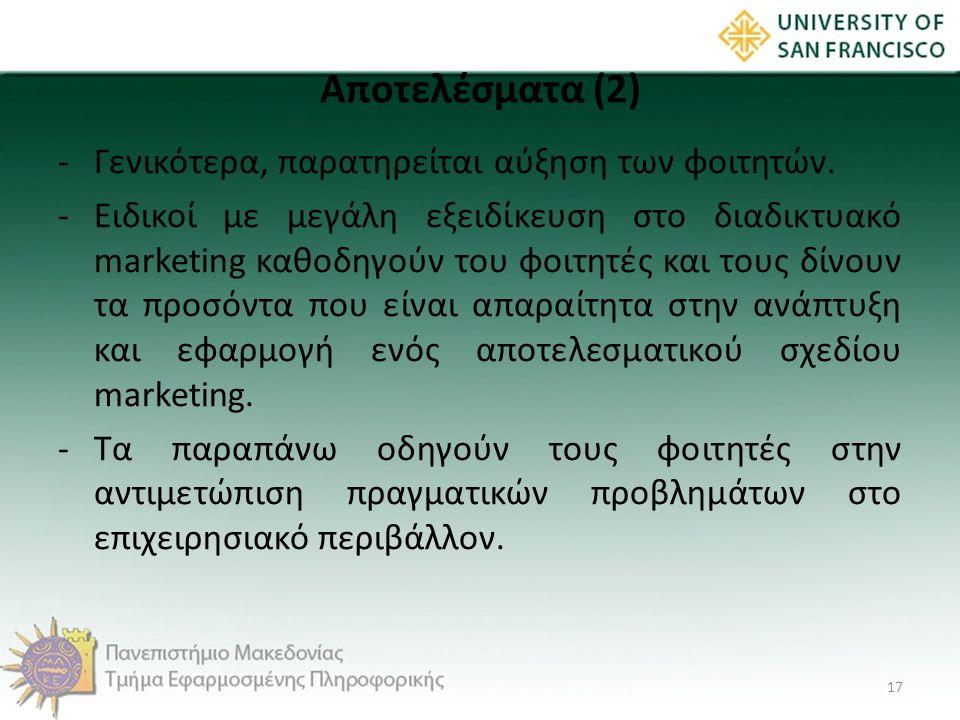 Αποτελέσματα (2) -Γενικότερα, παρατηρείται αύξηση των φοιτητών. -Ειδικοί με μεγάλη εξειδίκευση στο διαδικτυακό marketing καθοδηγούν του φοιτητές και τ