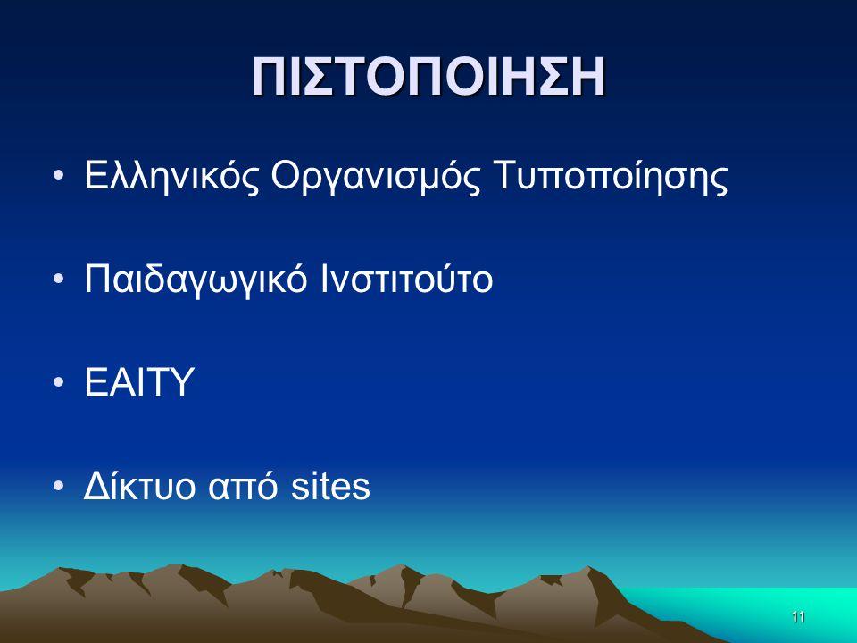 ΠΙΣΤΟΠΟΙΗΣΗ •Ελληνικός Οργανισμός Τυποποίησης •Παιδαγωγικό Ινστιτούτο •ΕΑΙΤΥ •Δίκτυο από sites 11