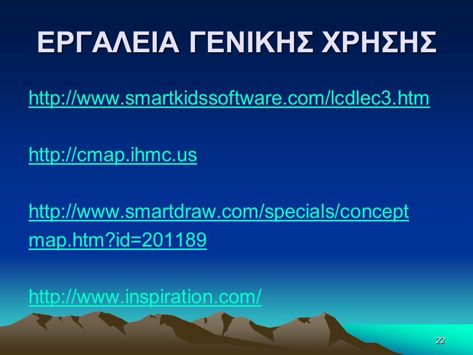 ΕΡΓΑΛΕΙΑ ΓΕΝΙΚΗΣ ΧΡΗΣΗΣ http://www.smartkidssoftware.com/lcdlec3.htm http://cmap.ihmc.us http://www.smartdraw.com/specials/concept map.htm?id=201189 http://www.inspiration.com/ 22