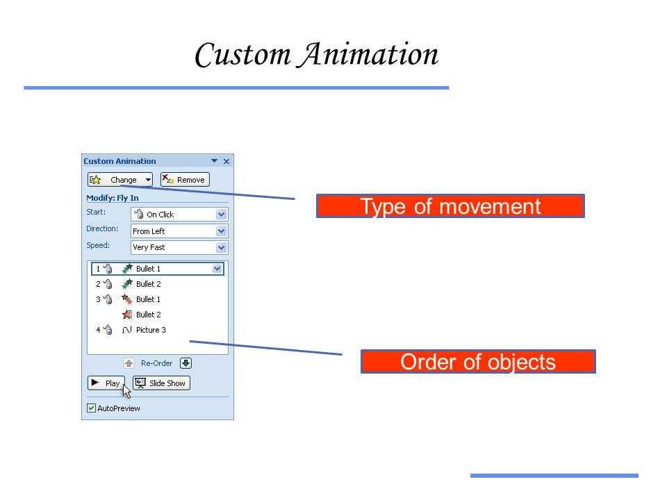 Αξιοποίηση Τεχνολογικών Εργαλείων Custom Animation Order of objects Type of movement