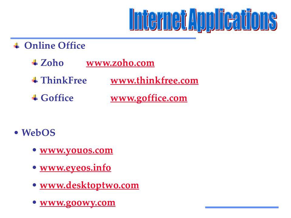 Αξιοποίηση Τεχνολογικών Εργαλείων Online Office Zohowww.zoho.comwww.zoho.com ThinkFreewww.thinkfree.comwww.thinkfree.com Gofficewww.goffice.comwww.goffice.com • WebOS • www.youos.comwww.youos.com • www.eyeos.infowww.eyeos.info • www.desktoptwo.comwww.desktoptwo.com • www.goowy.comwww.goowy.com