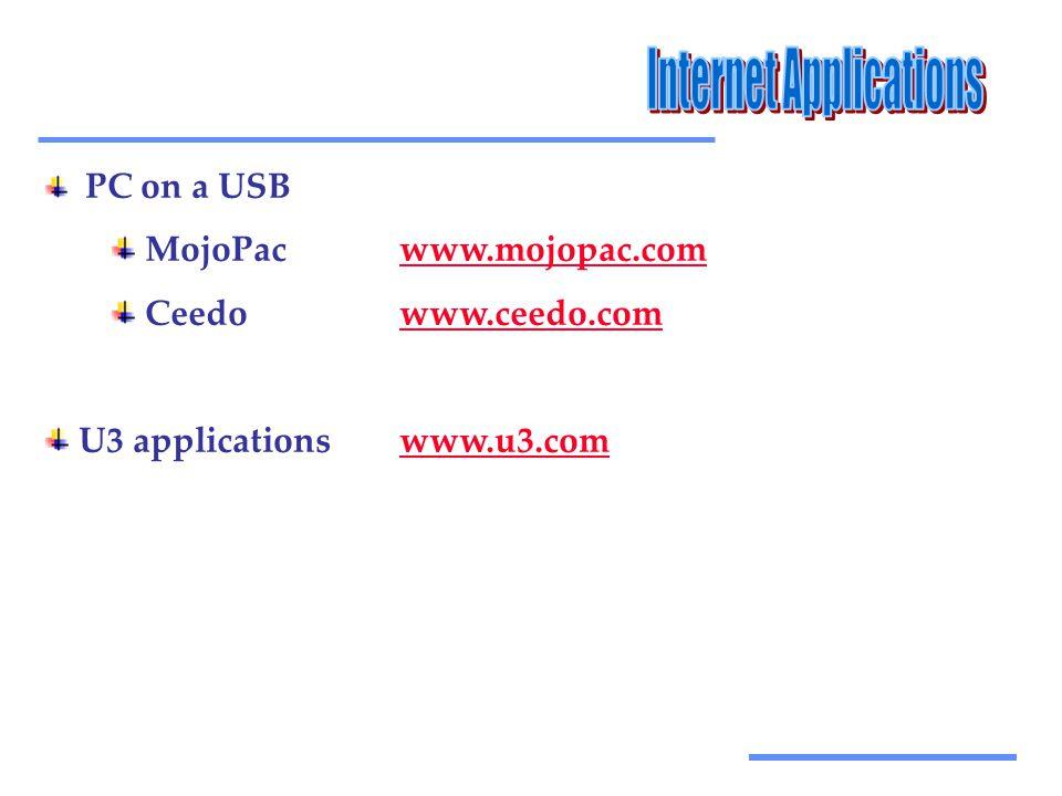 Αξιοποίηση Τεχνολογικών Εργαλείων PC on a USB MojoPacwww.mojopac.comwww.mojopac.com Ceedowww.ceedo.comwww.ceedo.com U3 applicationswww.u3.comwww.u3.com