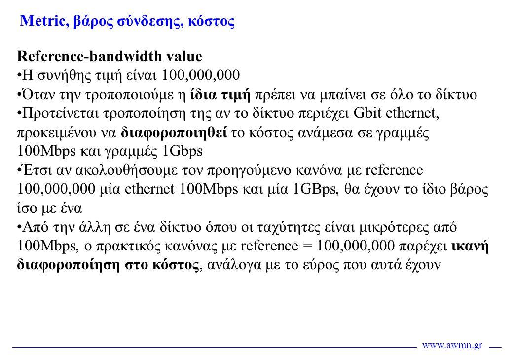 www.awmn.gr Reference-bandwidth value •Η συνήθης τιμή είναι 100,000,000 •Όταν την τροποποιούμε η ίδια τιμή πρέπει να μπαίνει σε όλο το δίκτυο •Προτείν