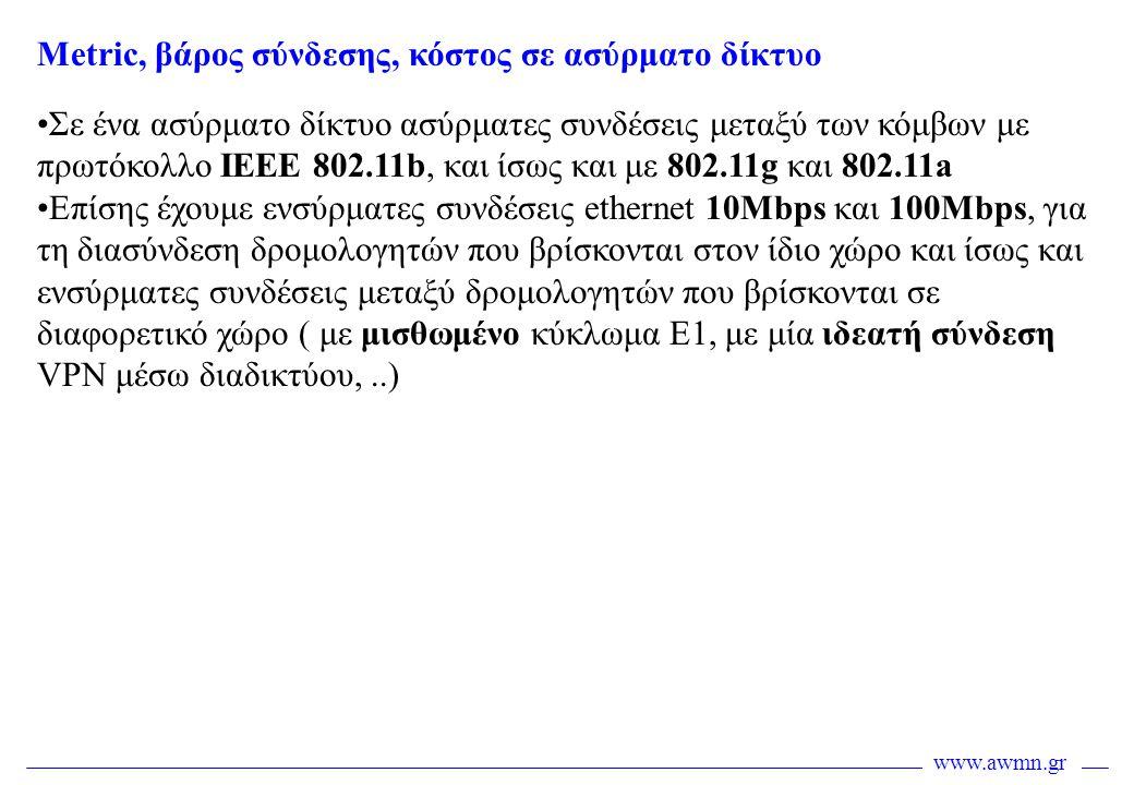 www.awmn.gr •Σε ένα ασύρματο δίκτυο ασύρματες συνδέσεις μεταξύ των κόμβων με πρωτόκολλο IEEE 802.11b, και ίσως και με 802.11g και 802.11a •Επίσης έχου