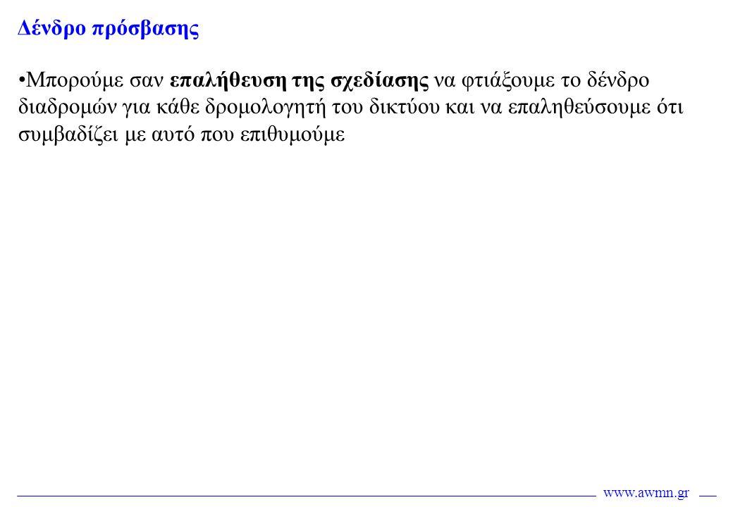 www.awmn.gr Δένδρο πρόσβασης •Μπορούμε σαν επαλήθευση της σχεδίασης να φτιάξουμε το δένδρο διαδρομών για κάθε δρομολογητή του δικτύου και να επαληθεύσ