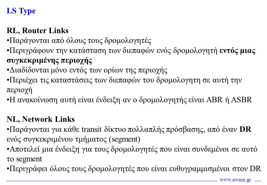 www.awmn.gr LS Type RL, Router Links •Παράγονται από όλους τους δρομολογητές •Περιγράφουν την κατάσταση των διεπαφών ενός δρομολογητή εντός μιας συγκε