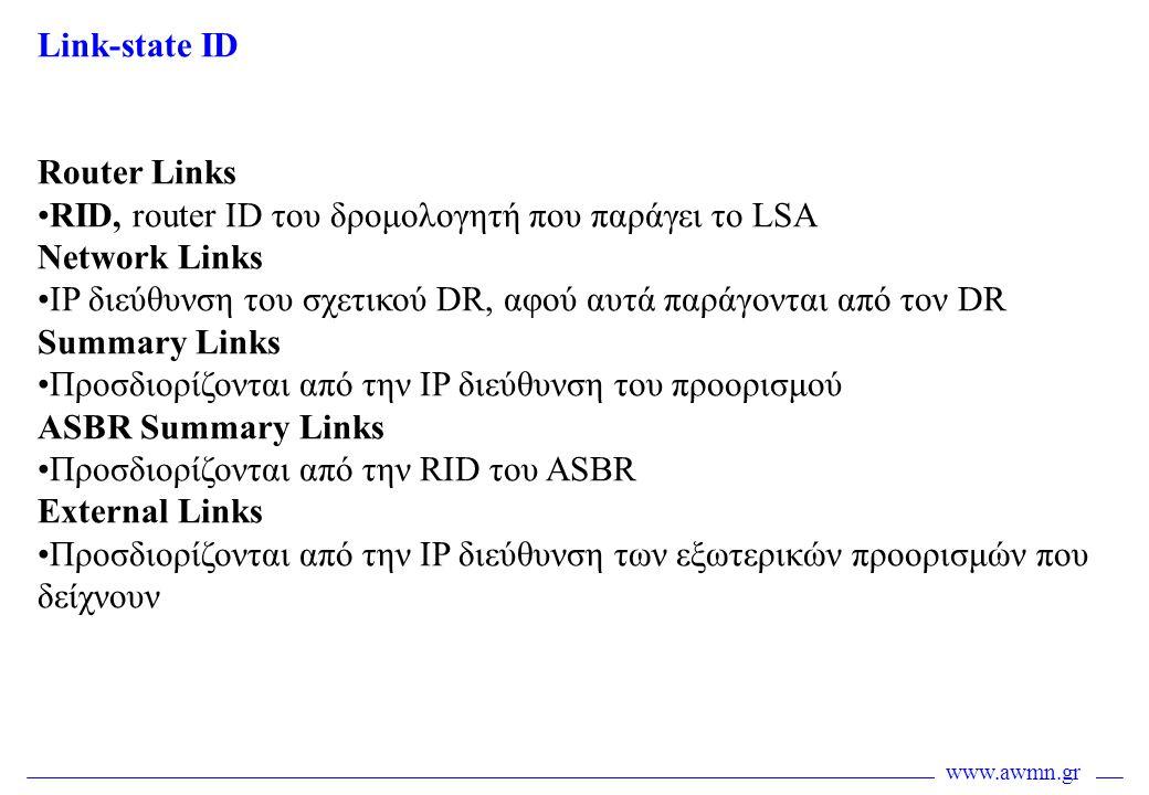 www.awmn.gr Link-state ID Router Links •RID, router ID του δρομολογητή που παράγει το LSA Network Links •IP διεύθυνση του σχετικού DR, αφού αυτά παράγ