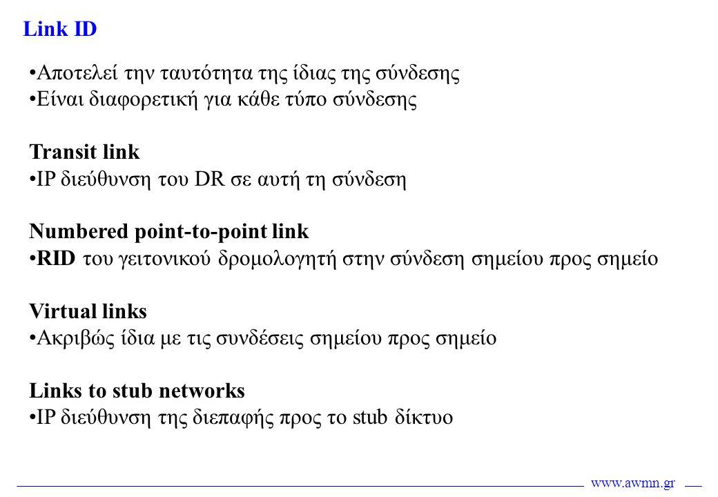 www.awmn.gr •Αποτελεί την ταυτότητα της ίδιας της σύνδεσης •Είναι διαφορετική για κάθε τύπο σύνδεσης Transit link •IP διεύθυνση του DR σε αυτή τη σύνδ