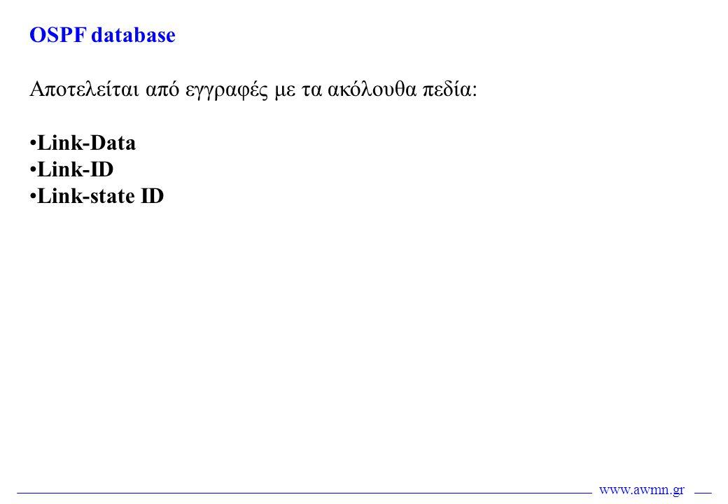 www.awmn.gr OSPF database Αποτελείται από εγγραφές με τα ακόλουθα πεδία: •Link-Data •Link-ID •Link-state ID