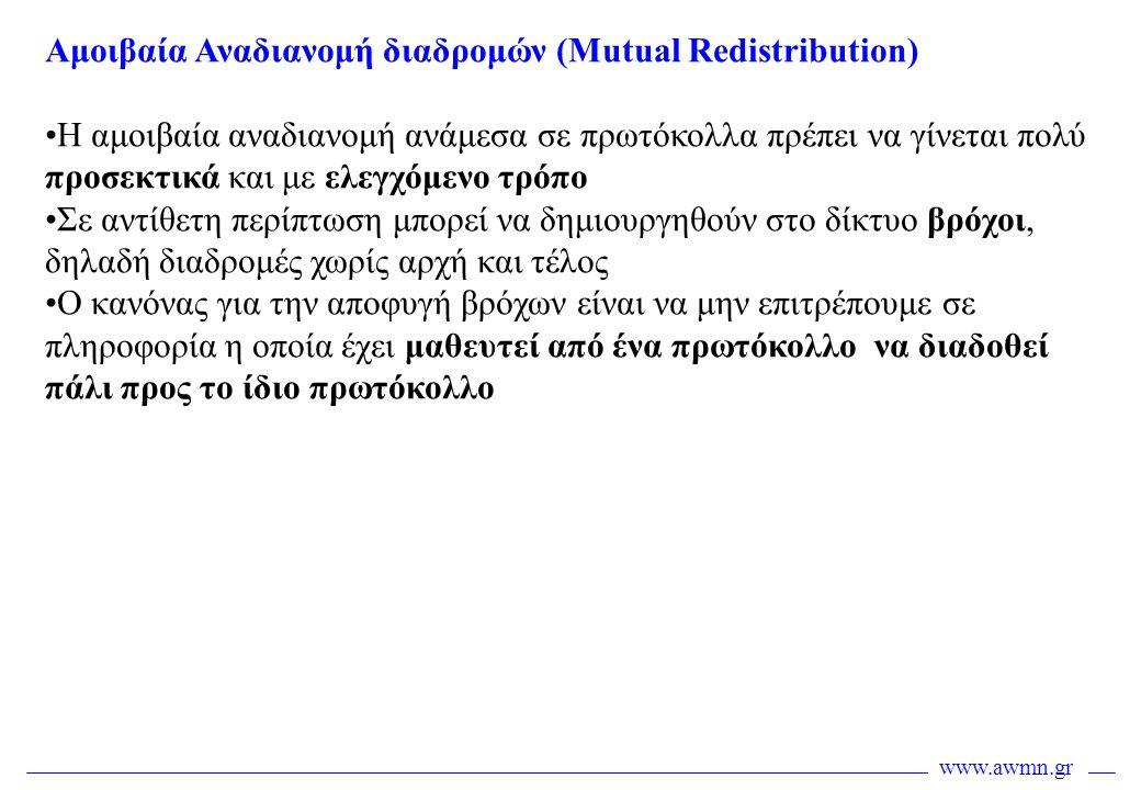 www.awmn.gr Αμοιβαία Αναδιανομή διαδρομών (Mutual Redistribution) •Η αμοιβαία αναδιανομή ανάμεσα σε πρωτόκολλα πρέπει να γίνεται πολύ προσεκτικά και μ