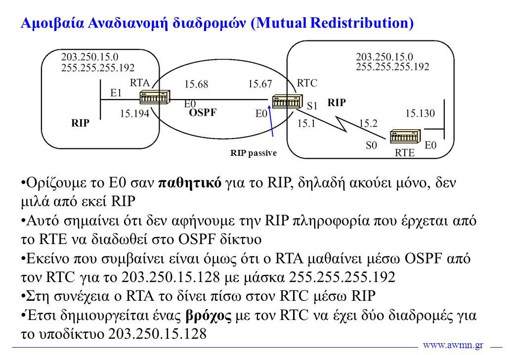 www.awmn.gr Αμοιβαία Αναδιανομή διαδρομών (Mutual Redistribution) •Ορίζουμε το Ε0 σαν παθητικό για το RIP, δηλαδή ακούει μόνο, δεν μιλά από εκεί RIP •