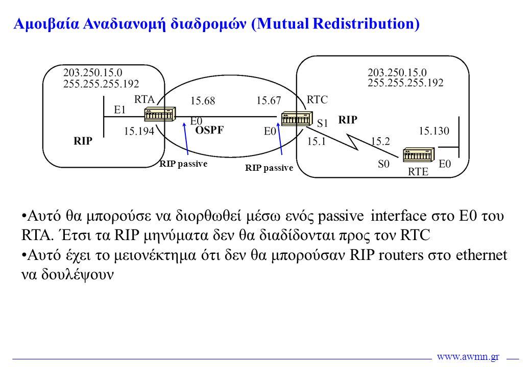 www.awmn.gr Αμοιβαία Αναδιανομή διαδρομών (Mutual Redistribution) •Αυτό θα μπορούσε να διορθωθεί μέσω ενός passive interface στο Ε0 του RTA. Έτσι τα R