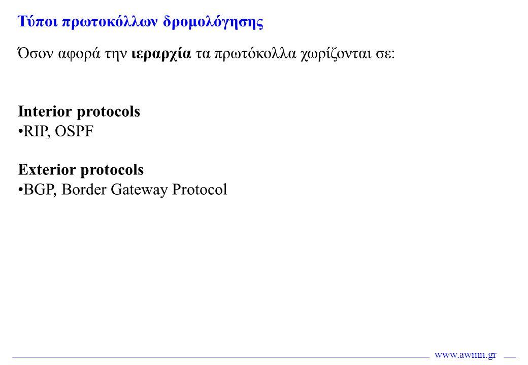 www.awmn.gr Όσον αφορά την ιεραρχία τα πρωτόκολλα χωρίζονται σε: Interior protocols •RIP, OSPF Exterior protocols •BGP, Border Gateway Protocol Τύποι