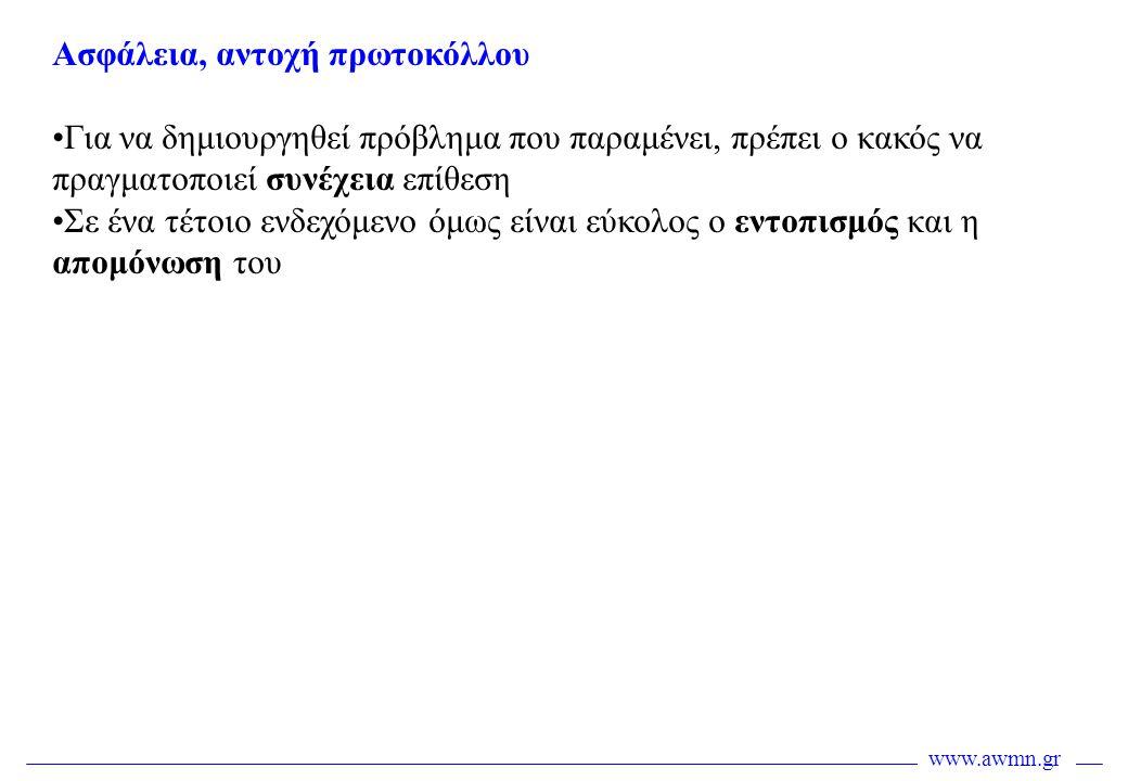 www.awmn.gr Ασφάλεια, αντοχή πρωτοκόλλου •Για να δημιουργηθεί πρόβλημα που παραμένει, πρέπει ο κακός να πραγματοποιεί συνέχεια επίθεση •Σε ένα τέτοιο