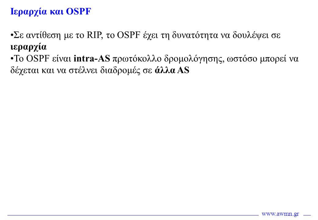 www.awmn.gr Ιεραρχία και OSPF •Σε αντίθεση με το RIP, το OSPF έχει τη δυνατότητα να δουλέψει σε ιεραρχία •Το OSPF είναι intra-AS πρωτόκολλο δρομολόγησ