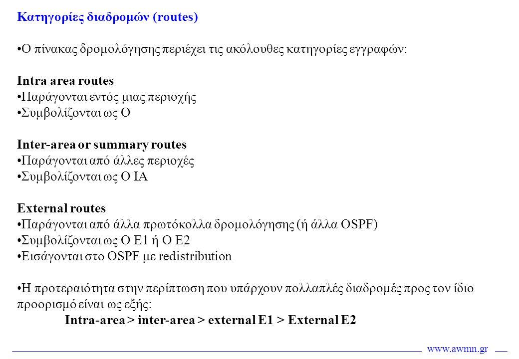 www.awmn.gr Κατηγορίες διαδρομών (routes) •Ο πίνακας δρομολόγησης περιέχει τις ακόλουθες κατηγορίες εγγραφών: Intra area routes •Παράγονται εντός μιας