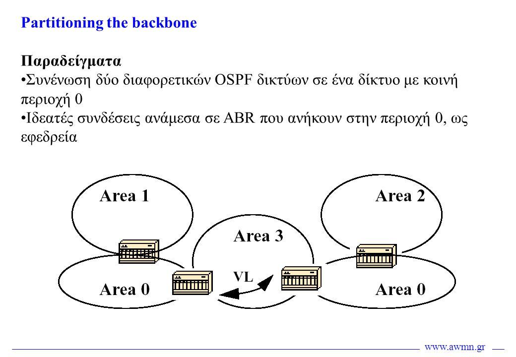 www.awmn.gr Partitioning the backbone Παραδείγματα •Συνένωση δύο διαφορετικών OSPF δικτύων σε ένα δίκτυο με κοινή περιοχή 0 •Ιδεατές συνδέσεις ανάμεσα