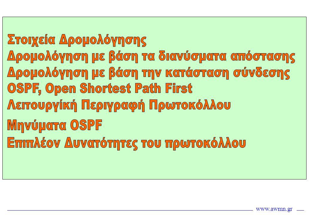 www.awmn.gr Εκλογή DR, BDR •Το επόμενο βήμα (αφού πληρούνται οι προϋποθέσεις) είναι η εκλογή των DR, Designated Router και BDR, Backup Designated Router στο segment, εφόσον έχουμε ορίσει τέτοια δυνατότητα •Αφού εκλεχθούν αυτοί, ακολουθεί η ευθυγράμμιση όλων των υπολοίπων με αυτούς μόνο και όχι όλων μεταξύ τους ευθυγράμμιση