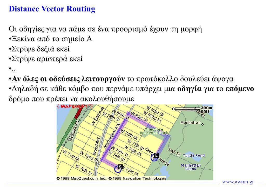 www.awmn.gr Distance Vector Routing Οι οδηγίες για να πάμε σε ένα προορισμό έχουν τη μορφή •Ξεκίνα από το σημείο Α •Στρίψε δεξιά εκεί •Στρίψε αριστερά