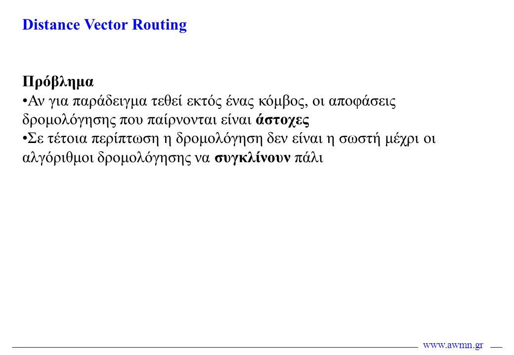 www.awmn.gr Distance Vector Routing Πρόβλημα •Αν για παράδειγμα τεθεί εκτός ένας κόμβος, οι αποφάσεις δρομολόγησης που παίρνονται είναι άστοχες •Σε τέ