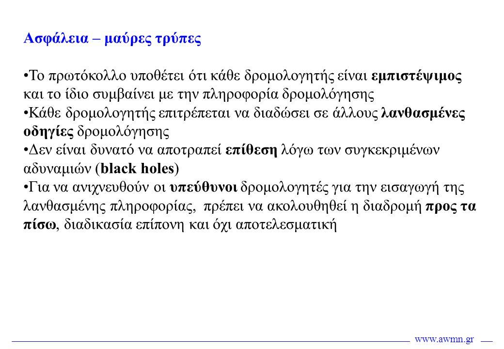 www.awmn.gr Ασφάλεια – μαύρες τρύπες •Το πρωτόκολλο υποθέτει ότι κάθε δρομολογητής είναι εμπιστέψιμος και το ίδιο συμβαίνει με την πληροφορία δρομολόγ