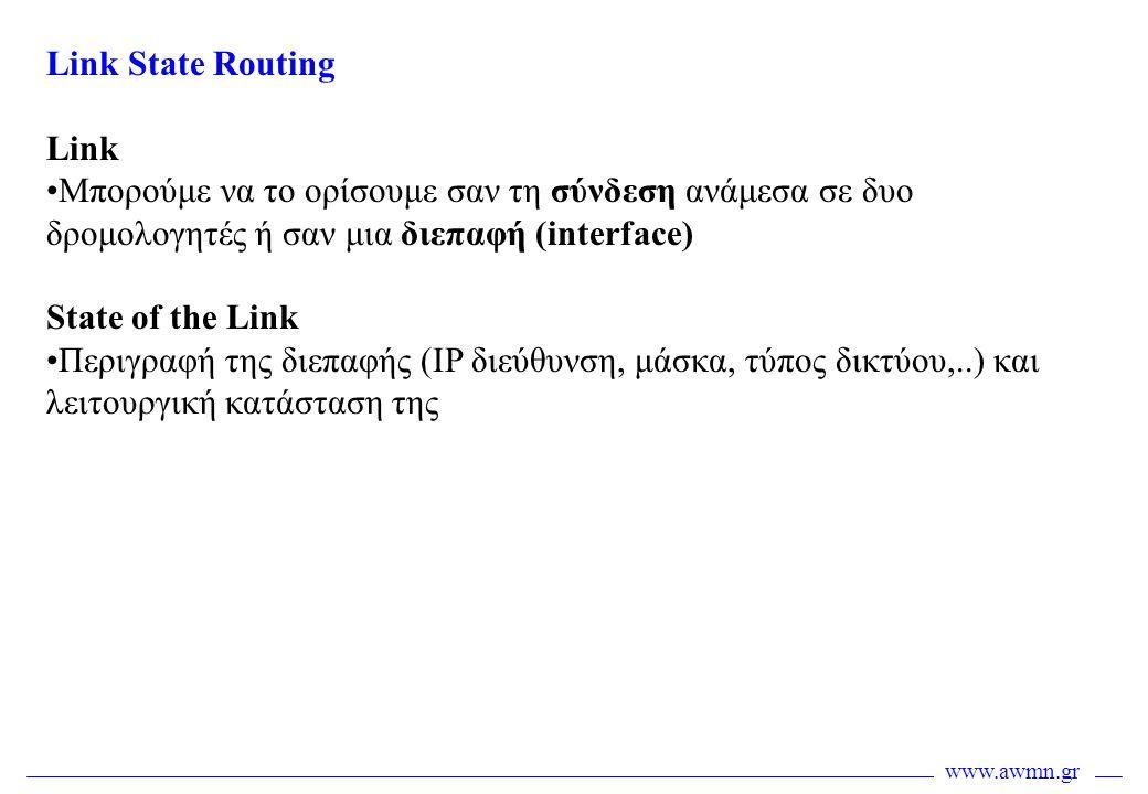 Link State Routing Link •Μπορούμε να το ορίσουμε σαν τη σύνδεση ανάμεσα σε δυο δρομολογητές ή σαν μια διεπαφή (interface) State of the Link •Περιγραφή