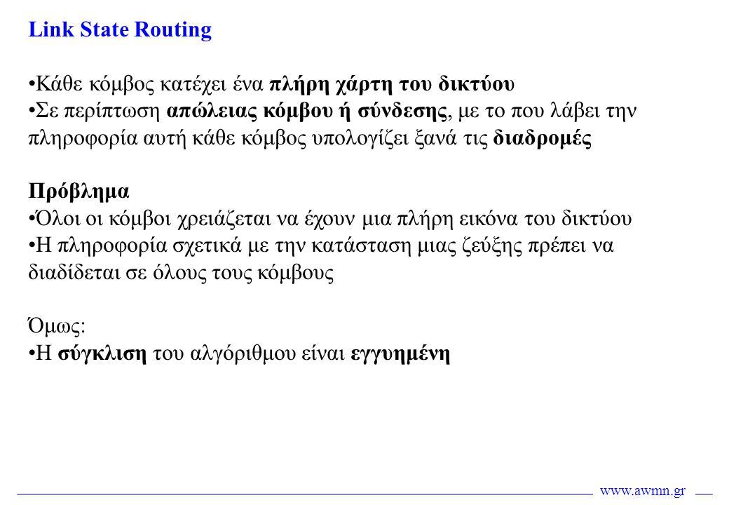 www.awmn.gr Link State Routing •Κάθε κόμβος κατέχει ένα πλήρη χάρτη του δικτύου •Σε περίπτωση απώλειας κόμβου ή σύνδεσης, με το που λάβει την πληροφορ